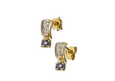 kozak diamonds złote kolczyki