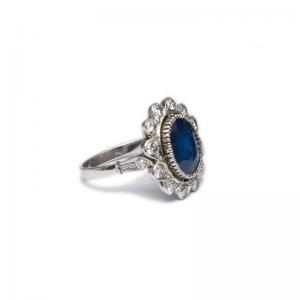 biżuteria kozak diamonds okładka platynowy pierścionek z szafirem i brylantami